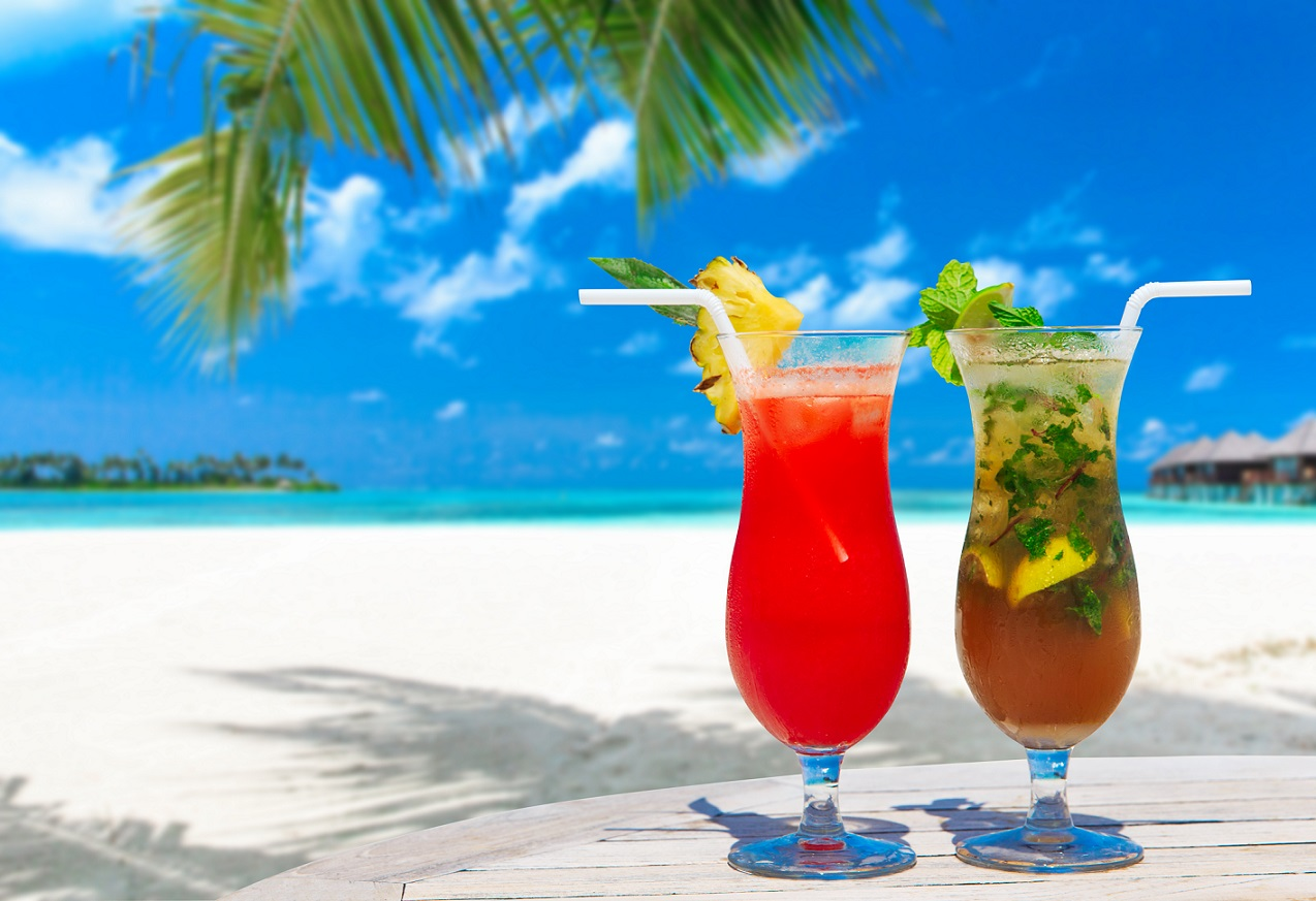 Variety of drinks in the Maldives